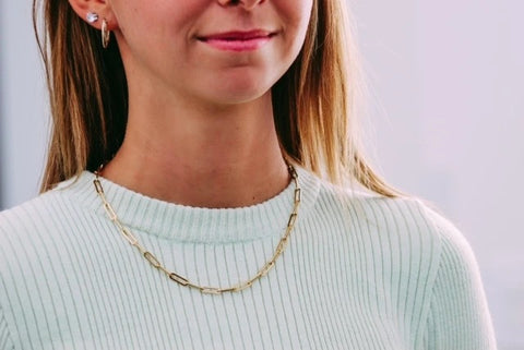 Paper clip chain Necklace, Gold