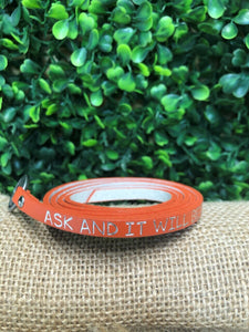 Matthew 7:7 Scripture Wrap Bracelet, Orange, One Size