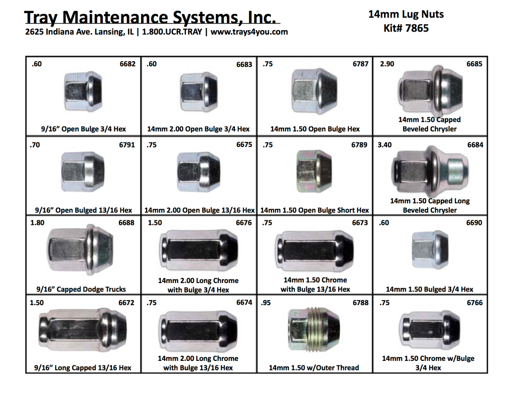 "14mm & 9/16"" Lug Nut Assortment"