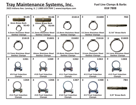 Fuel Line Clamps & Barbs Assortment