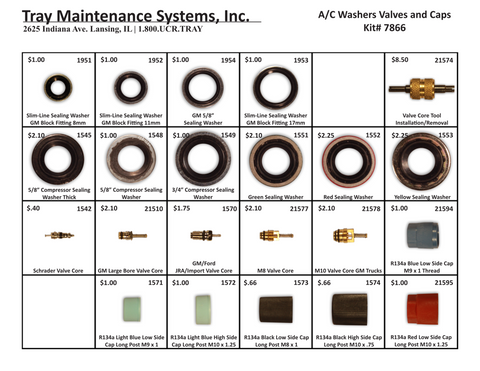 A/C Washers, Valves & Caps Assortment