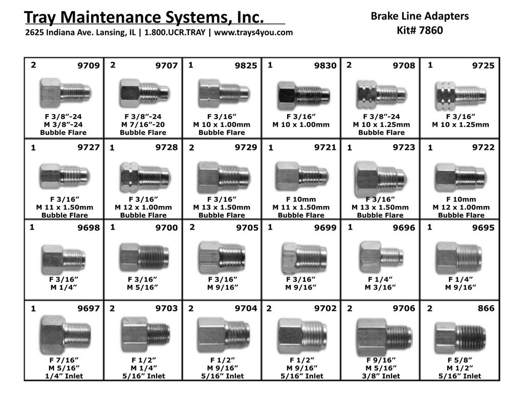 Brake Line Adapter Assortment