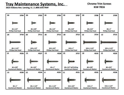 Chrome Trim Screws Assortment