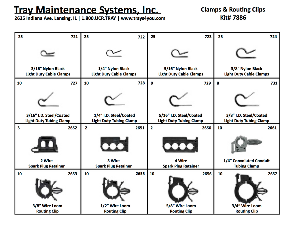 Tubing Clamp & Routing Clips Assortment – Tray Maintenance Systems, Inc.