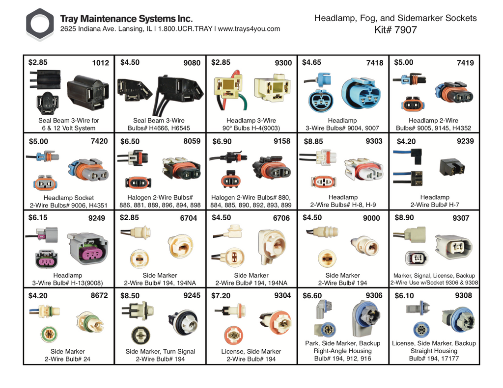 Headlamp, Fog, Side Marker Socket Assortment