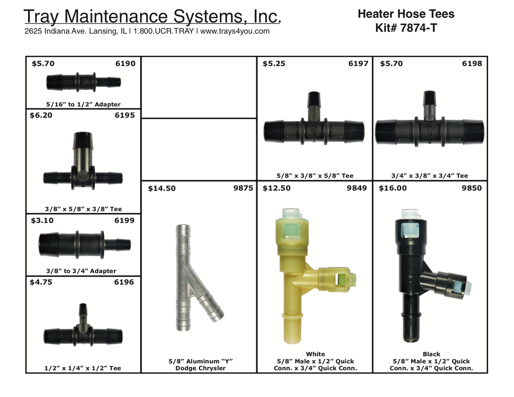 Heater Hose Tees Assortment