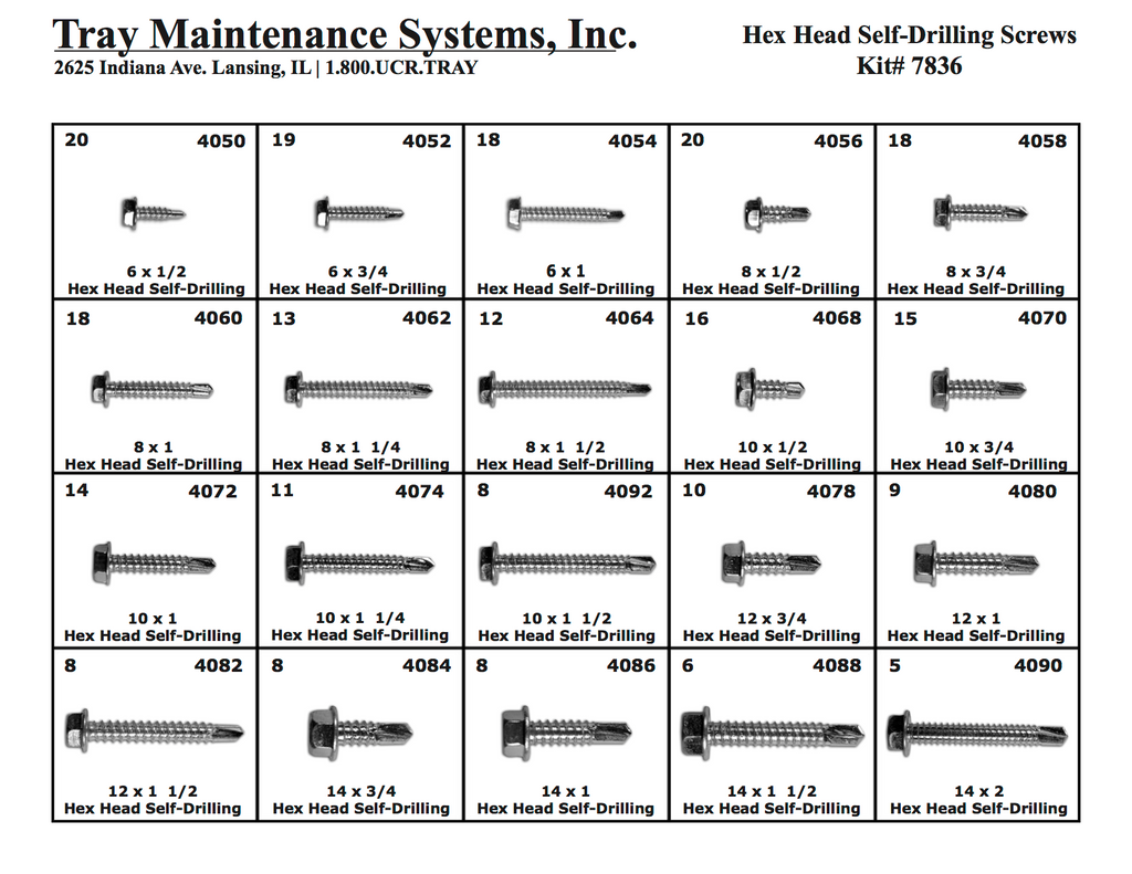 Hex Head Self-Drilling Sheet Metal Screws Assortment
