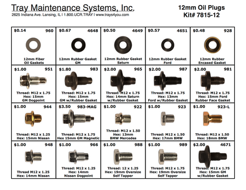 12mm Oil Plug Assortment