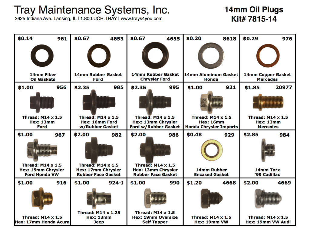 14mm Oil Plug Assortment