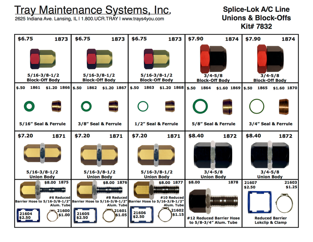 Spice-Lok A/C Unions & Block-offs Assortment