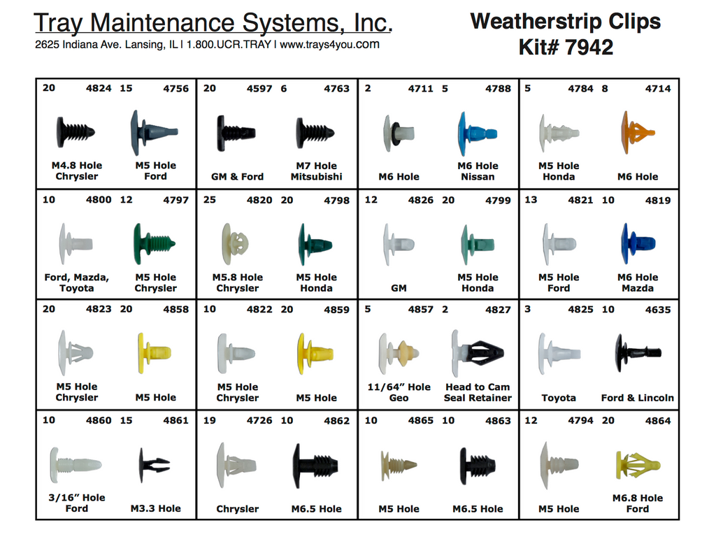 Weatherstrip Clip Assortment