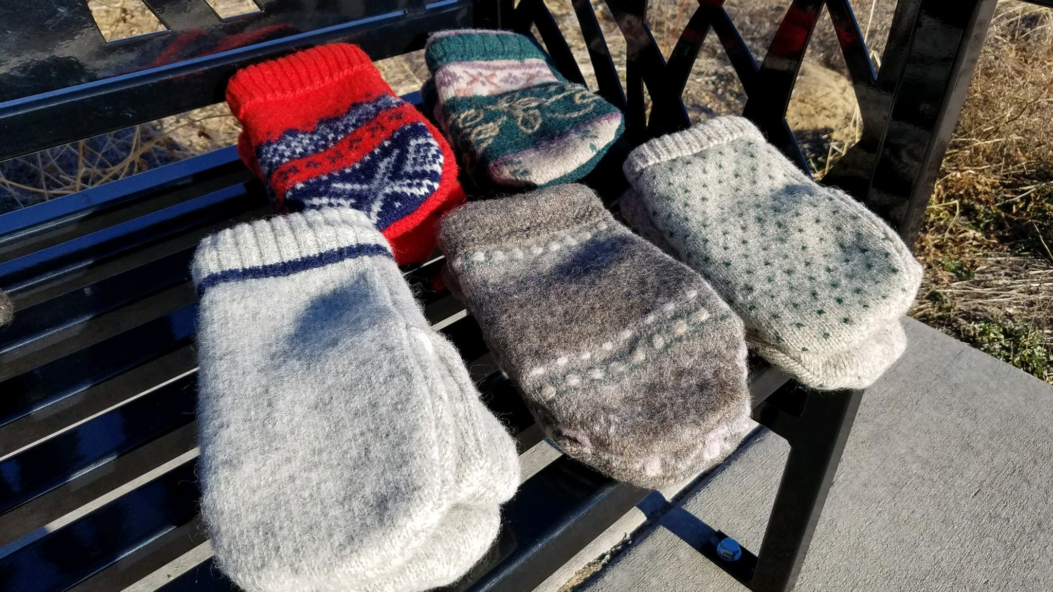 Upcycled Wool Mittens  with fleece lining - Size Large
