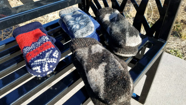 Upcycled Wool Mittens  with fleece lining - Size Medium