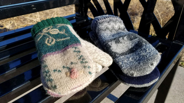 Upcycled Wool Mittens  with fleece lining - Size Small