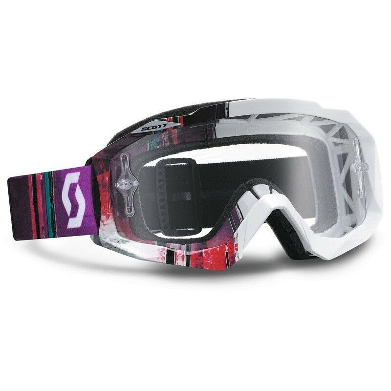 Scott Hustle MX Goggle (Pixel White/Purple) Clear Lens