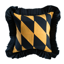 Load image into Gallery viewer, Patchwork: Navy Blue & Mustard Yellow with Navy Blue ruffle
