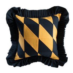 Patchwork: Navy Blue & Mustard Yellow with Navy Blue ruffle