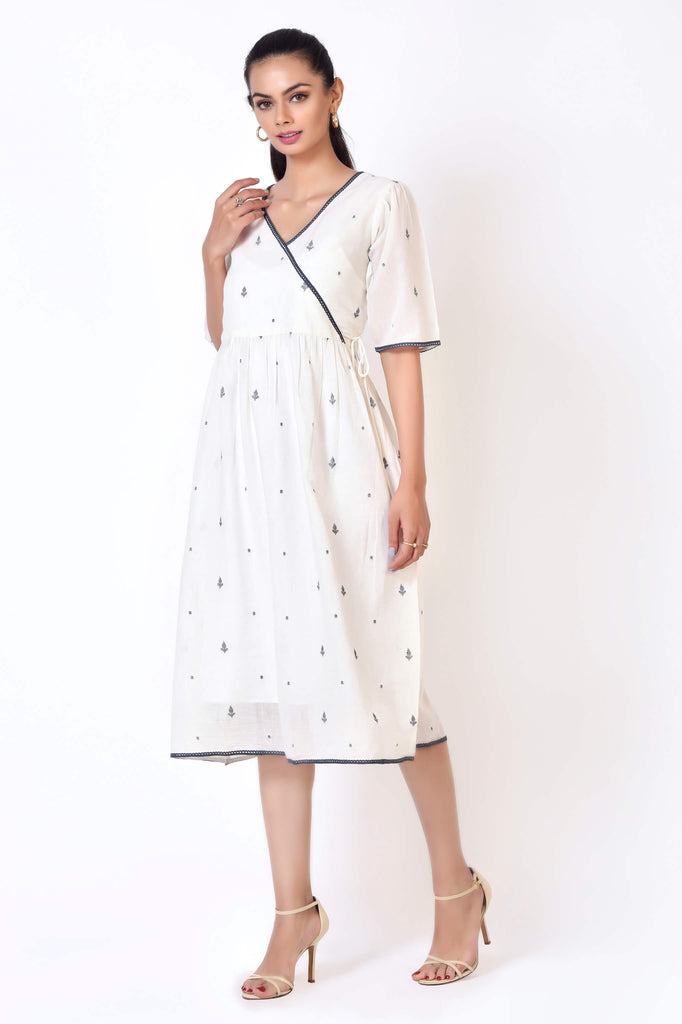 The Side Tie Dress - Off-white with leaf motifs