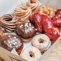 mixed dozen box of doughnuts, assorted flavors