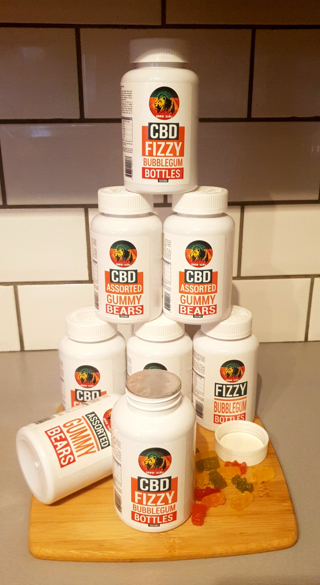CBD infused Fizzy Bubblegum Bottles - 1000mg - Grow Guru UK