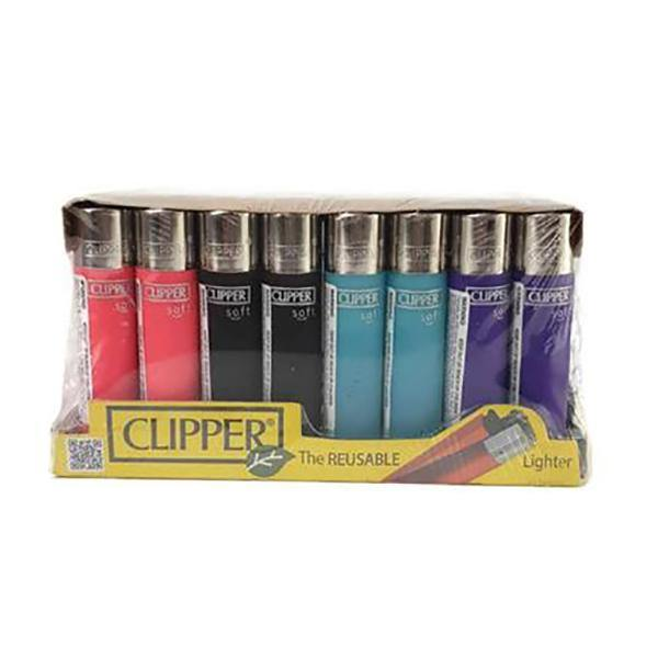 40 Clipper Soft Touch Refillable Lighters-Smoking Products-Clipper-Grow Guru Ltd