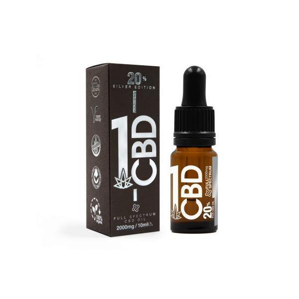 1CBD 20% Pure Hemp 2000mg CBD Oil Sliver Edition 10ml-CBD Products-1CBD-Grow Guru Ltd
