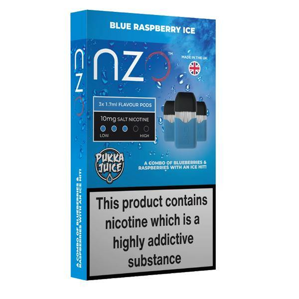 NZO 10mg Pukka Juice Salt Cartridges with Red Liquids Nic Salt (50VG/50PG)-Vaping Products-NZO-Blue Raspberry Ice-Grow Guru Ltd
