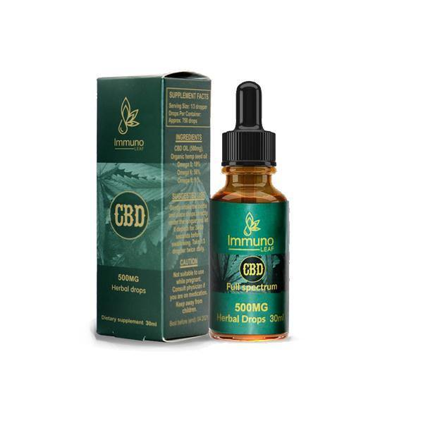 Immuno Leaf 500mg CBD Premium Organic Hemp Seed Oil 30ML-CBD Products-Immuno Leaf-Grow Guru Ltd