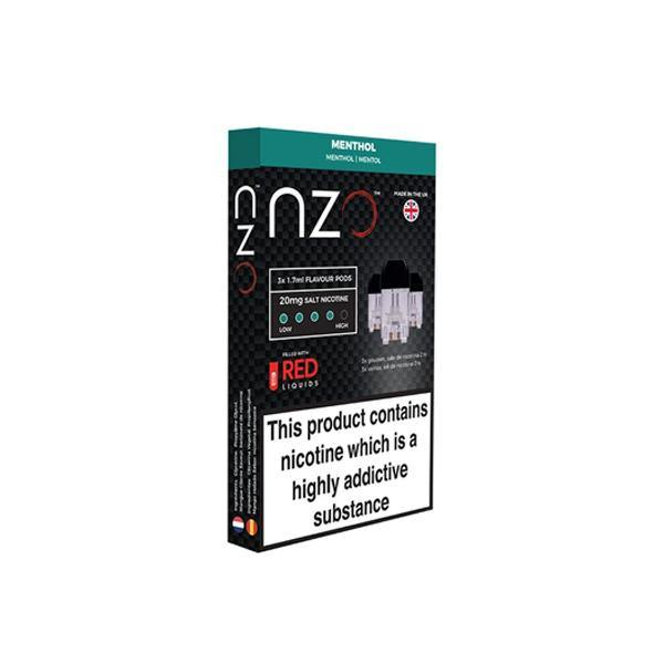 NZO 10mg Salt Cartridges with Red Liquids Nic Salt (50VG/50PG)-Vaping Products-NZO-Menthol-Grow Guru Ltd
