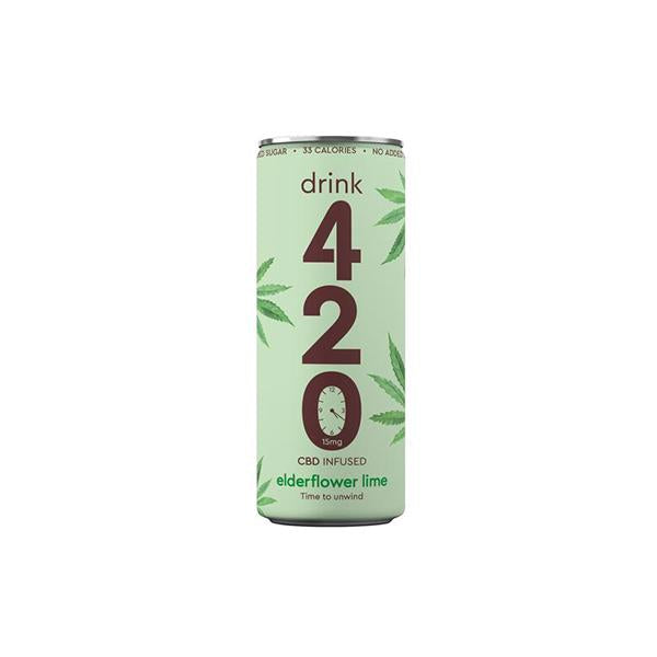 Drink 420 CBD 15mg Infused Sparkling Drink - Elderflower Lime-CBD Products-Drink 420-1 x Elderflower Lime-Grow Guru Ltd
