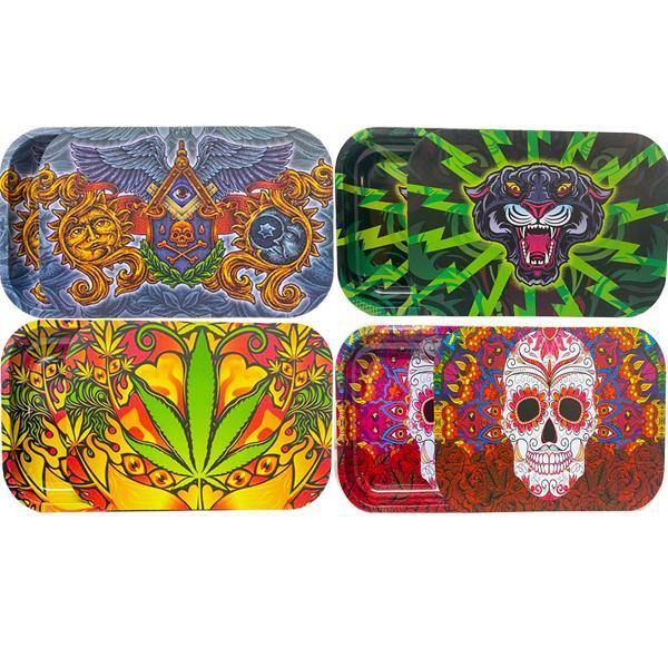 Large Mixed Design Magnetic Metal Rolling Trays with Lid-Smoking Products-Unbranded-Rasta-Grow Guru Ltd