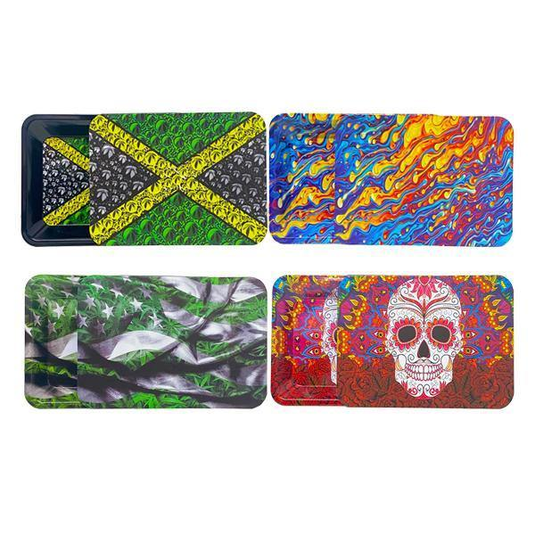 Medium Mixed Design Magnetic Metal Rolling Trays with Lid-Smoking Products-Unbranded-Rasta-Grow Guru Ltd