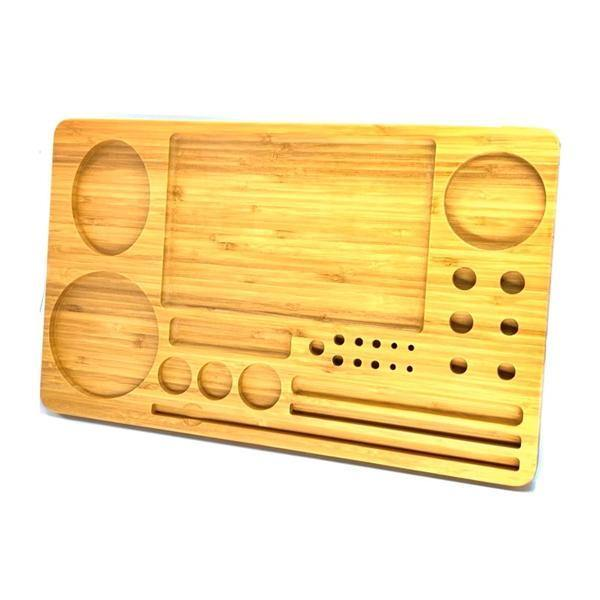 Extra Large Wooden Rolling Tray with Compartments - TRY-B428x260-Smoking Products-Unbranded-Grow Guru Ltd