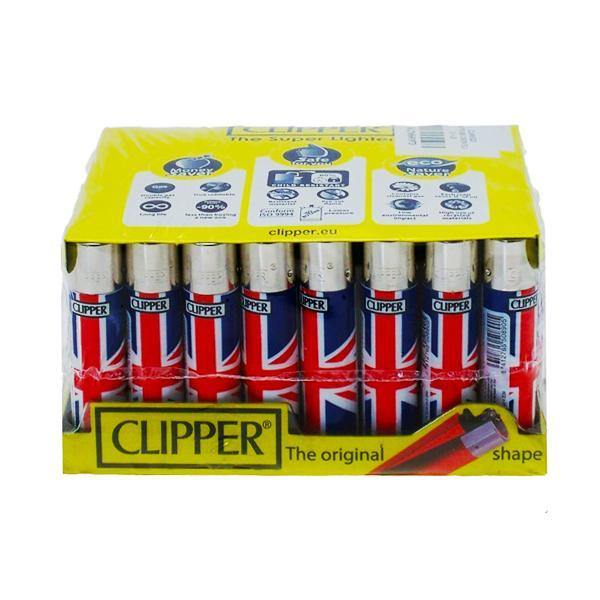 40 Clipper Refillable Classic Lighters Union Jack Flag - CL5C045UKH-Smoking Products-Clipper-Grow Guru Ltd
