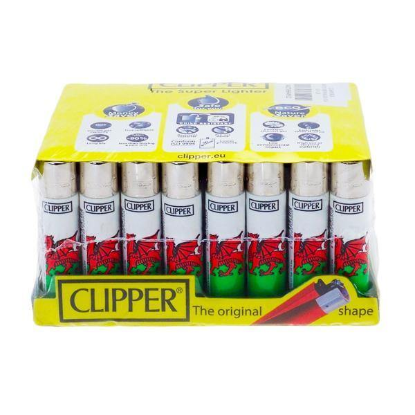 40 Clipper Refillable Classic Lighters Wales Flag - CL5C047UKH-Smoking Products-Clipper-Grow Guru Ltd