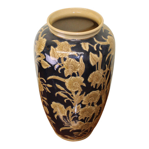 The Antique Ceramic Flower Vase comes in a dark navy blue colour with a stone flowered embossed design, perfect for indoor or outdoor porch plants. Add a unique vintage touch to your room with our high quality ceramic vase. Get the best deal with FREE & FAST UK SHIPPING! Subscribe and Save more at Cérulien!