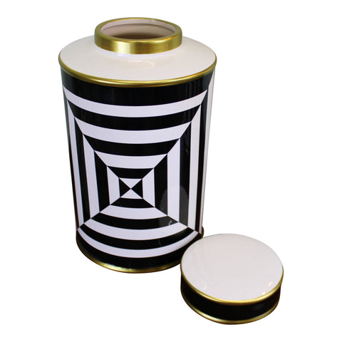 Home decor | Cerulien |Cérulien |Luxury design |A high quality glazed ceramic vase with lid in a black, white and gold geometric design. Matching lamp available code GJ098. Top opening diameter 8cm. The product features protective pads on the underside to protect your furniture. Measurements: 16.5 x 29 x 16.5cm