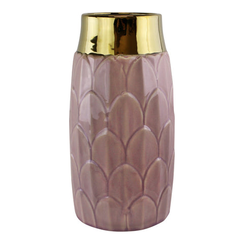 A stylish ceramic pink coloured vase with a decorative art deco inspired motif. This stunning vase embraces modern and traditional styles creating a luxury yet functional everyday home accessory - perfect for displaying fresh or dried flowers in any room in the home. The neck of the vase is finished in a shiny gold coloured glaze adding a glamorous touch that compliments the art deco design. Finished in a dusky pink colour it will make a great finishing touch to the lounge, dining room or bedroom and ma...