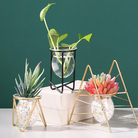 A set a thee lovely small flower vases with two golden wire frames and one black wire frame coming in different shapes. The Three vases are displayed against a green painted wall which makes the gold colour of the wire stand out in a very elegant way. Cerulien, Home decor. How to choose the Perfect vase for your flower arrangements.