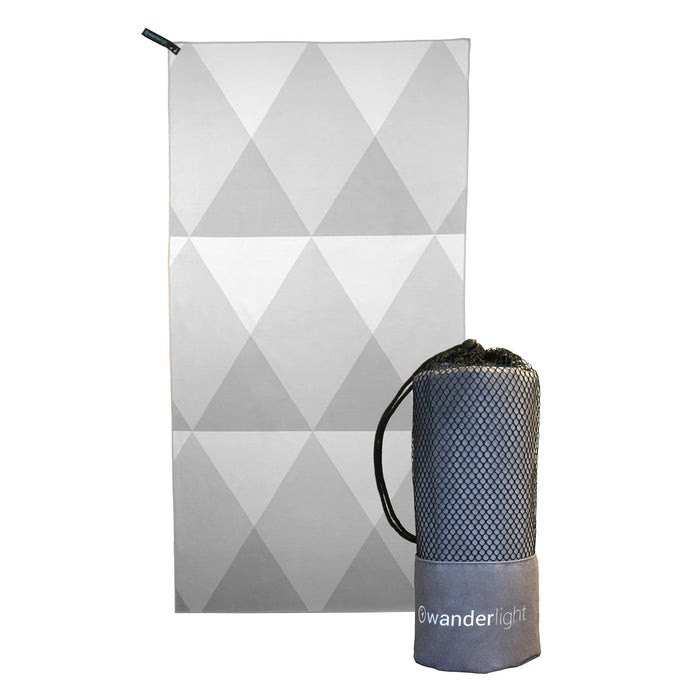 towel with three shades of grey diamonds, hang loop on upper left corner and branded grey carrying pouch