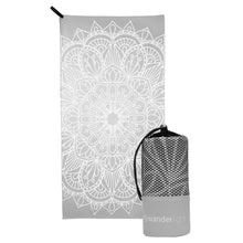 Load image into Gallery viewer, grey towel with large white mandala print, hang loop on upper left corner and branded grey carrying pouch