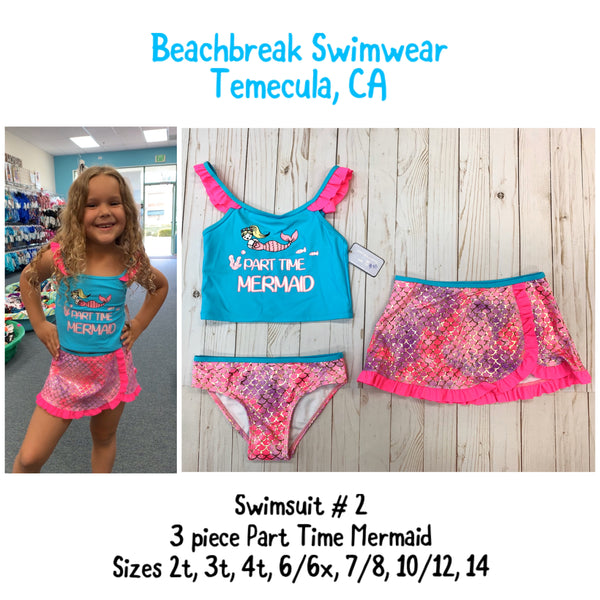 PART TIME MERMAID Girls 3-piece swimsuit set cami top & bottom + skirt in sizes 6/6x, 7/8, 10/12, 14