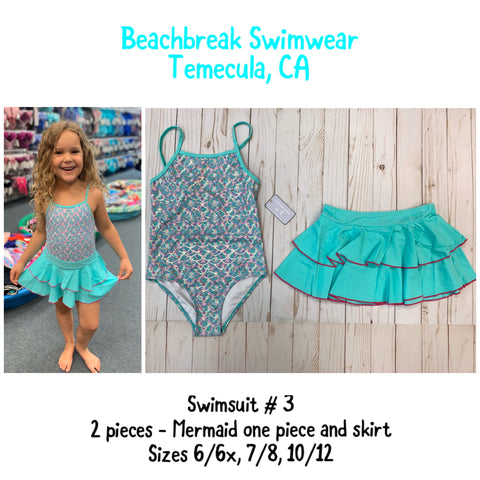 MERMAID Girls One Piece Swimsuit includes cute cover-up skirt in sizes 6/6x, 7/8, 10/12, 14