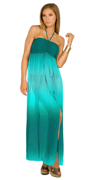 Aerin Rose Ombre Emerald - Bandeau Maxi Cover-Up Dress