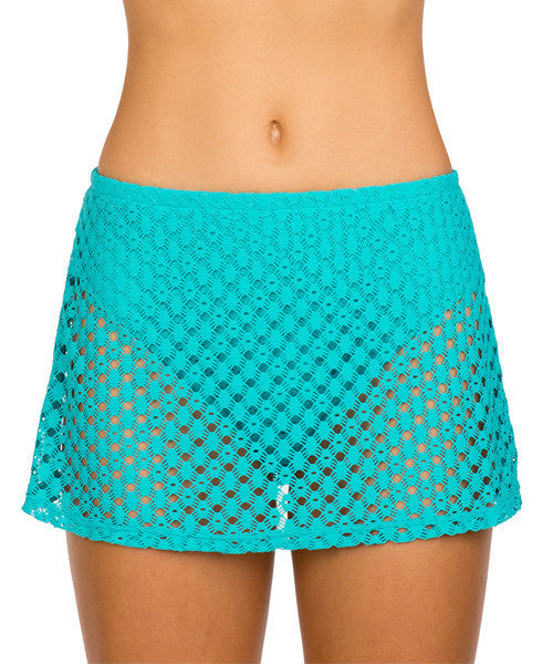 Sunsets NAUTICAL NET TROPICAL TEAL CONTEMPORARY SWIM SKIRT 36B