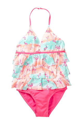 FLAMINGO Girls Ruffle Tiered Tankini 2 piece swimsuit set by Jantzen sizes 4 5 6