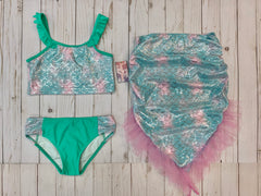 MERMAID Girls 3-piece swimsuit set cami top & bottom + tail/skirt in sizes 6/6x, 7/8, 10/12, 14
