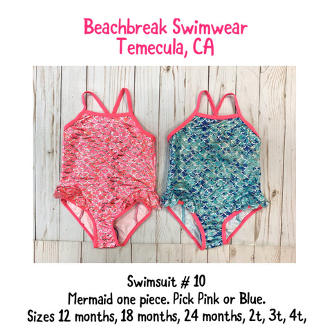 MERMAID Baby & Little Girls One Piece Swimsuits PINK or BLUE sizes 12, 18, and 24 months, 2t, 3t, 4t