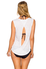 Lavish OPEN BACK TANK TOP sleeveless t' shirt White 824