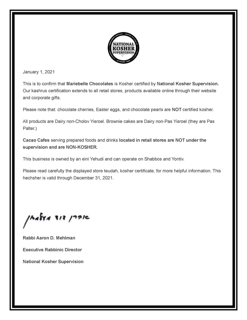 Kosher Certificate issued to MarieBelle